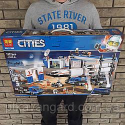 Конструктор Сити Площадка для сборки ракеты, транспорт для перевозки ракеты 1097 деталей Lari 11388