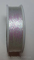 Люрекс Адель металлизированная нить плоская 01. Цвет белый хамелеон