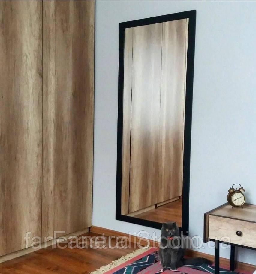Зеркало настенное в черной раме с МДФ во весь рост 1500х600 мм на стену