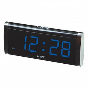 Электронные проводные цифровые часы VST 730 Синяя подсветка