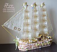"""Корабль из конфет """"Мечта"""". Оригинальный подарок на свадьбу."""