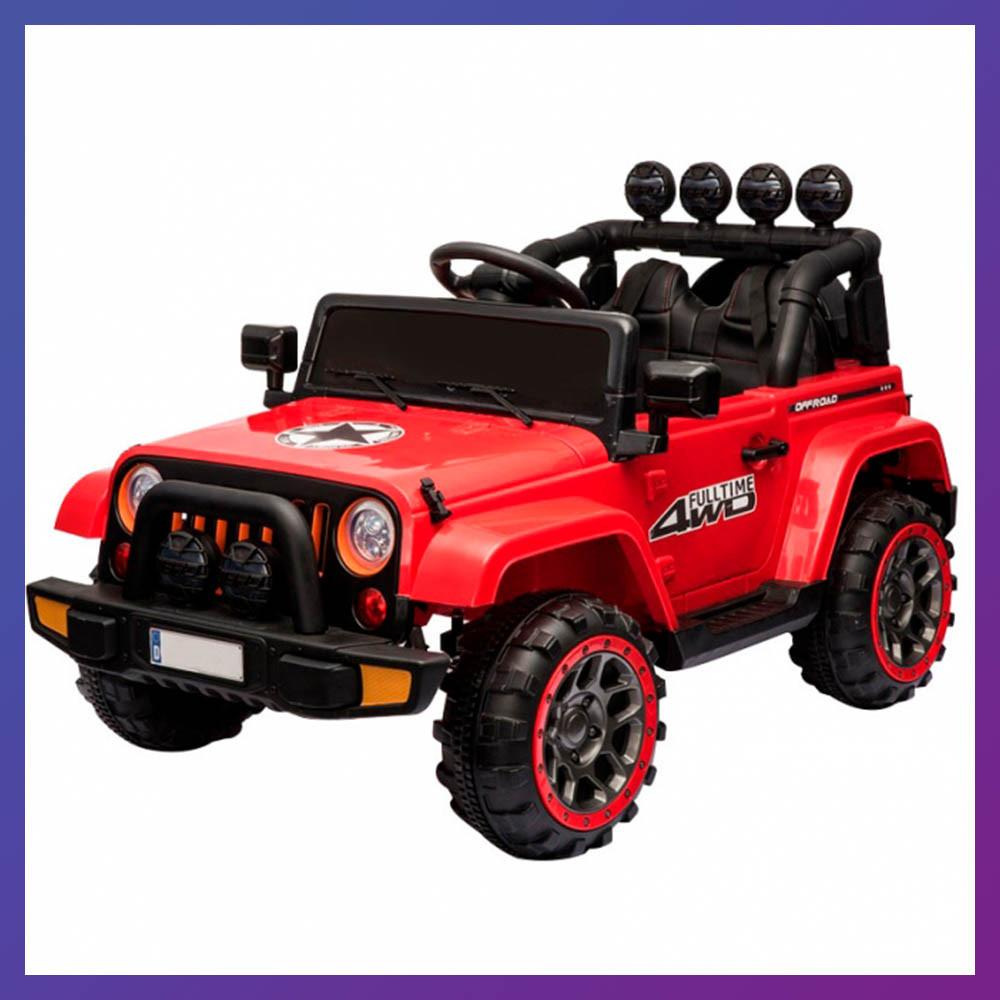 Детский электромобиль на аккумуляторе джип Jeep T-7833 с пультом радиоуправления для детей 3-8 лет красный