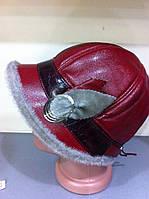 Стильная шапочка - жокейка с отворотом украшение из серой нерпы
