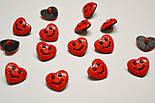 """Пуговицы детские """"сердечки красные с улыбкой"""" П-003, фото 4"""