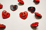 """Пуговицы детские """"сердечки красные с улыбкой"""" П-003, фото 5"""
