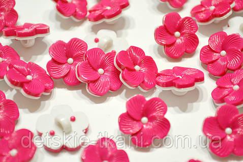 """Пуговицы """"розовые цветочки с широкими лепестками"""" П-010"""