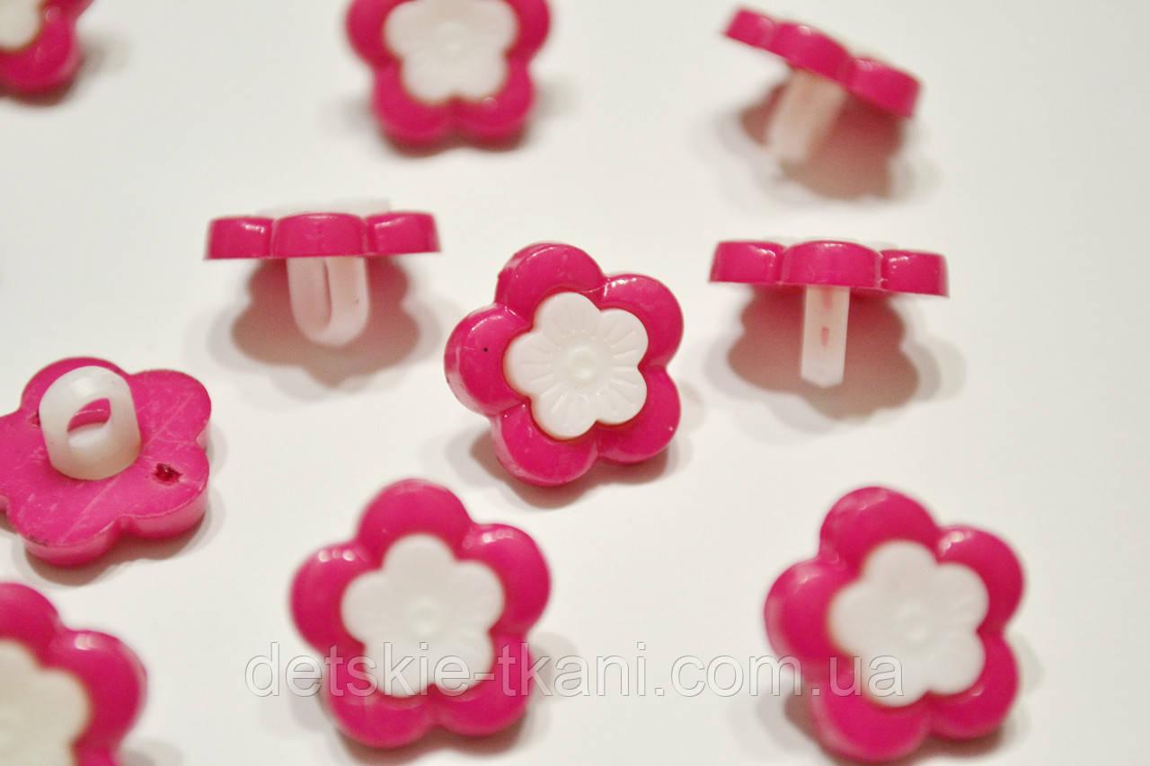 """Пуговицы """"розовые цветочки с белой серединкой"""" П-012"""