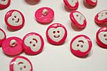 Розовые пуговицы с белым сердечком П-018, фото 2