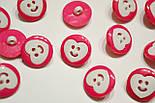 Розовые пуговицы с белым сердечком П-018, фото 3