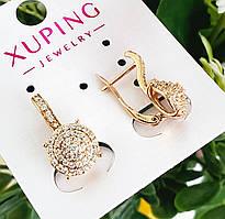 Сережки Xuping довжина 1.9см медичне золото позолота 18К с1218