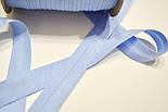 Косая бейка из хлопка голубого цвета 18 мм., фото 3