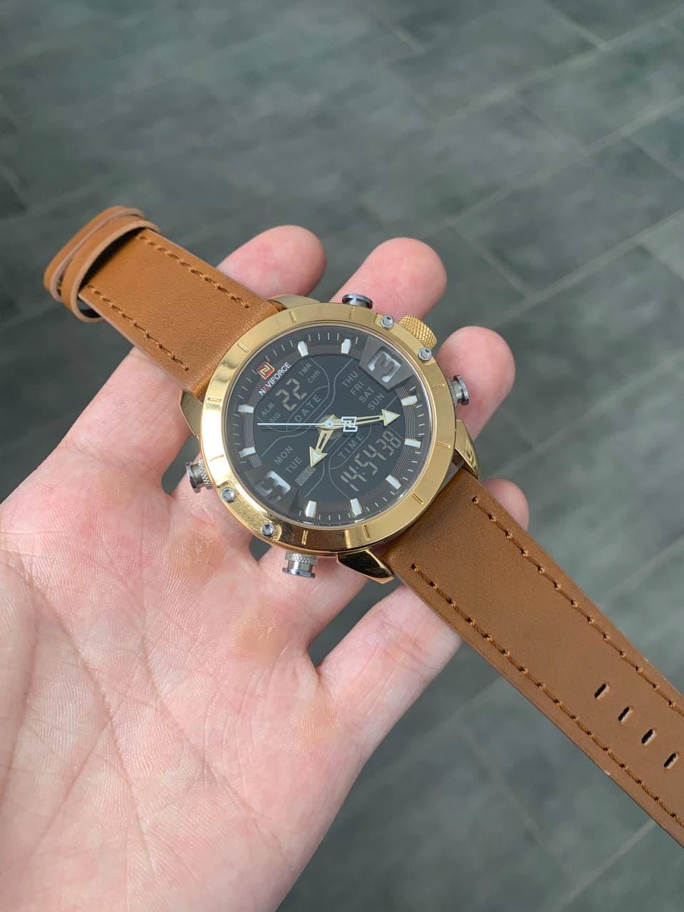 Коричневі чоловічі наручні годинники Naviforce NF9153L Light Brown-Gold