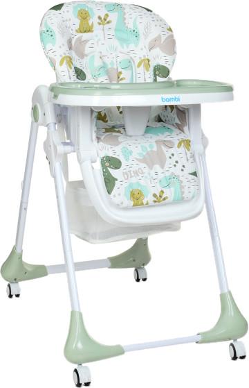 Универсальный стульчик для кормления на колесах, пластиковый Bambi M 3233 Dino Pine Green, зеленый