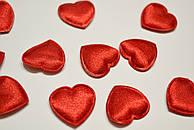 Декор сердечки средние, цвет красный.