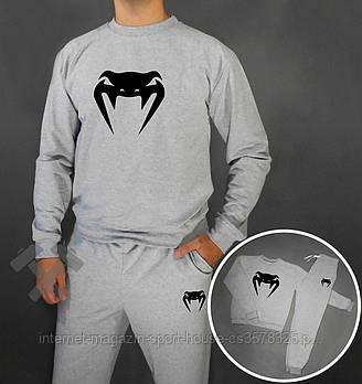 Мужской спортивный костюм Венум (Venum) реглан и штаны (на любой сезон), реплика серый
