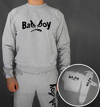 Мужской спортивный костюм Бед бой (Bad Boy) реглан и штаны (на любой сезон), реплика серый