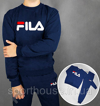 Мужской спортивный костюм Фила (Fila) реглан и штаны (на любой сезон), реплика  синий