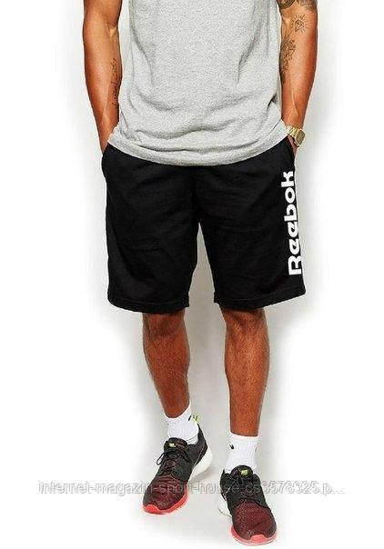 Чоловічі шорти Reebok, чоловічі шорти Рібок, спортивні шорти, брендові шорти чоловічі, чорні