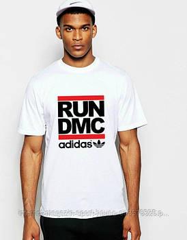 Мужская хлопковая футболка Адидас (Adidas) с брендовым логотипом, реплика белая