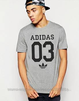 Мужская хлопковая футболка Адидас (Adidas) с брендовым логотипом, реплика серая