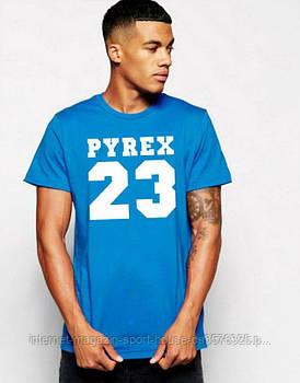 Мужская хлопковая футболка Адидас (Adidas) с брендовым логотипом, реплика голубая