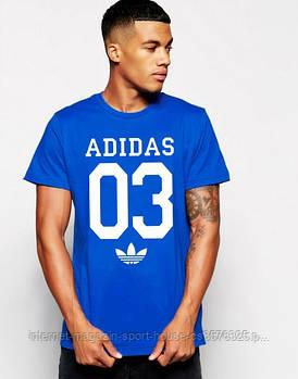Мужская хлопковая футболка Адидас (Adidas) с брендовым логотипом, реплика синяя