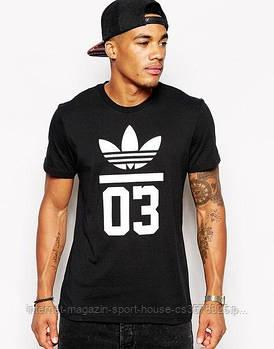 Мужская хлопковая футболка Адидас (Adidas) с брендовым логотипом, реплика черная