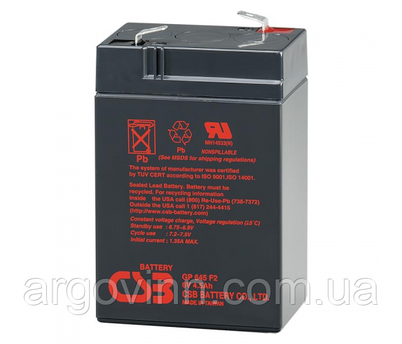 Акумулятор CSB GP645, 6V 4.5 Ah (70 х 47 х 105 (110) ) Q20