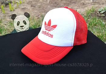 Спортивна кепка Adidas, Адідас, тракер, річна кепка, унісекс, червоного і білого кольору (копія)