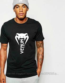 Мужская хлопковая футболка Венум (Venum) с брендовым логотипом, реплика черная