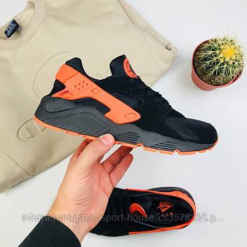 """Мужские кроссовки Nike Air Huarache """"Black/Orange"""" (копия)"""