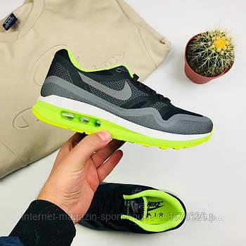 """Женские кроссовки Nike Air Max 1 Lunarlon """"Black/Gray"""" (копия)"""