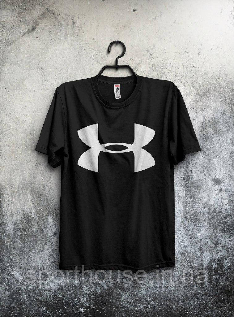 Мужская хлопковая футболка Андер Армор (Ander Armour) с брендовым логотипом, реплика черная
