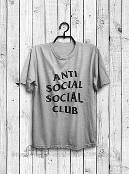 Мужская хлопковая футболка Анти Социал Клаб (Anti social social club) с брендовым логотипом, реплика серая