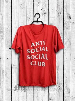 Мужская хлопковая футболка Анти Социал Клаб (Anti social social club) с брендовым логотипом, реплика красная