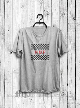Чоловіча футболка Huf,чоловіча футболка Гуф, спортивна, брендовий, бавовна, сіра, розміри: ХС-ХХХЛ