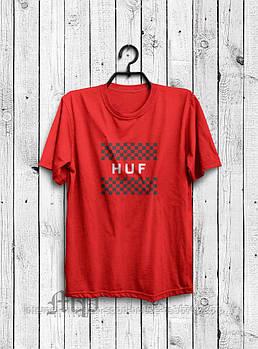 Чоловіча футболка Huf,чоловіча футболка Гуф, спортивна, брендовий, бавовна, червона, розміри: ХС-ХХХЛ