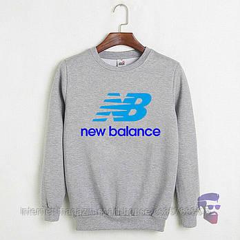 Спортивна кофта New Balance, Нью Беланс, світшот, трикотаж, чоловічий, сірого кольору, копія