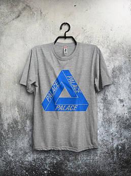 Мужская хлопковая футболка Палас (Palace) с брендовым логотипом, реплика серая