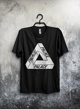 Мужская хлопковая футболка Палас (Palace) с брендовым логотипом, реплика черная