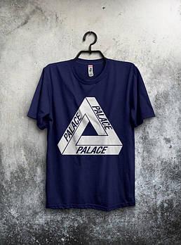 Мужская хлопковая футболка Палас (Palace) с брендовым логотипом, реплика синяя