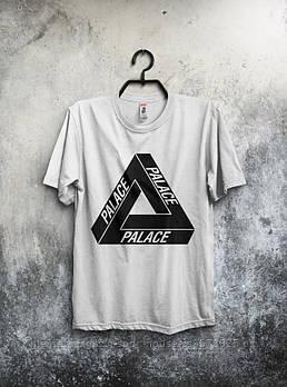Мужская хлопковая футболка Палас (Palace) с брендовым логотипом, реплика белая