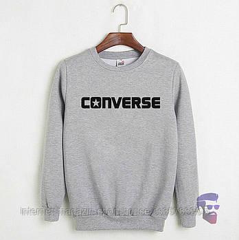 Спортивна кофта Converse, Конверсе, світшот, трикотаж, чоловічий, сірого кольору, копія