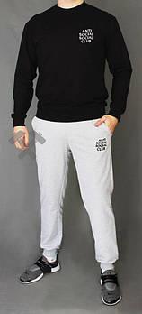 Чоловічий спортивний костюм Anti Social Social Club чорний з сірим (люкс копія)