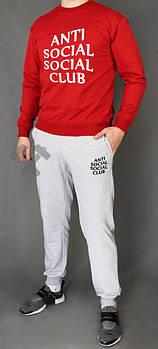 Чоловічий спортивний костюм Anti Social Social Club червоний з сірим (люкс копія)