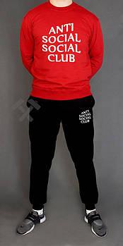 Чоловічий спортивний костюм Anti Social Social Club червоний з чорним (люкс копія)