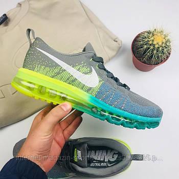"Мужские кроссовки Nike Air Flyknit Max 2014 ""Gray/Green"" (копия)"