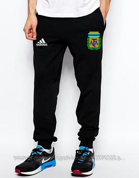 Мужские спортивные штаны Адидас (Adidas), трикотажные (на любой сезон), реплика черные