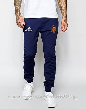 Мужские спортивные штаны Адидас (Adidas), трикотажные (на любой сезон), реплика синие