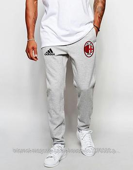 Мужские спортивные штаны Адидас (Adidas), трикотажные (на любой сезон), реплика серые